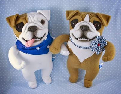 English Bulldog, soft art toy