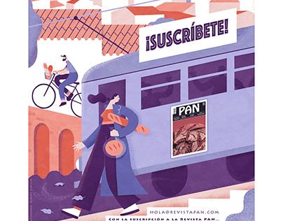 Advertisement illustration for the magazine PAN