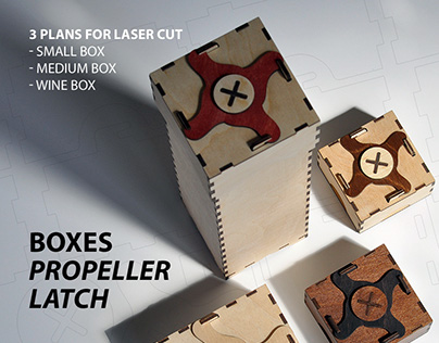 Box with propeller latch