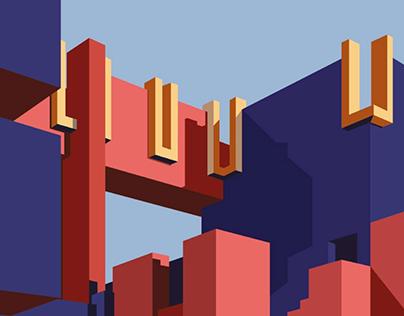 Illustration of La Muralla Roja for Kiton magazine