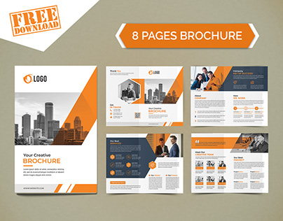 Free Minimal 8 Pages Brochure Template