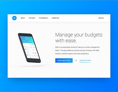 Walt | App Landing Page