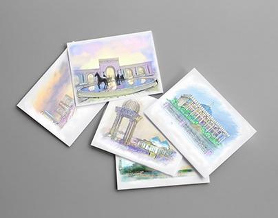 Городской скетч для открыток
