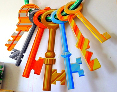 """TREASURE KEYS"" (painted wall sculpture)"