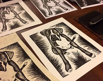 Olga - Dog block print, digital art & tee shirt design