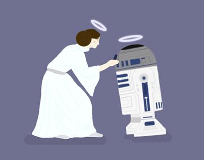 Princess Leia and R2-D2 (Star Wars fan-art)