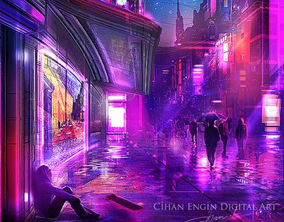 Van Gogh Café Terrace at Nigh - Cyberpunk Style