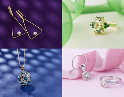Jewelry on colorful backgrounds still life photography