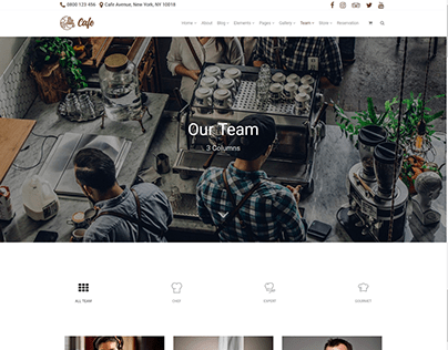Team 3 Columns - Cafe WordPress Theme