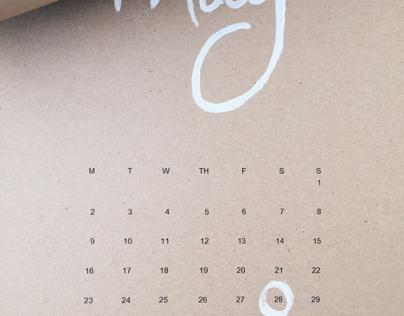 Hand Painted 2016 Wall Calendar