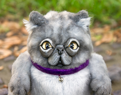Ferguson - Gray Persian Kitty, OOAK ar toy
