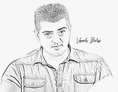 Thala Ajith Pencil Art