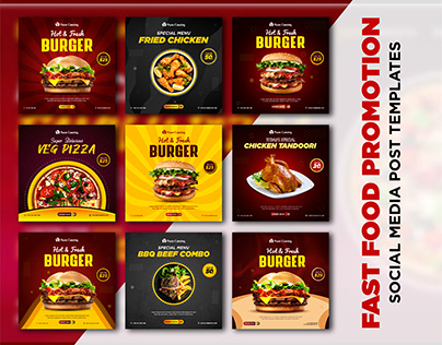 FAST Food Promotion Social Media Post Templates
