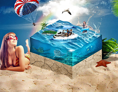 Water Cube Island - Photoshop Timelapse