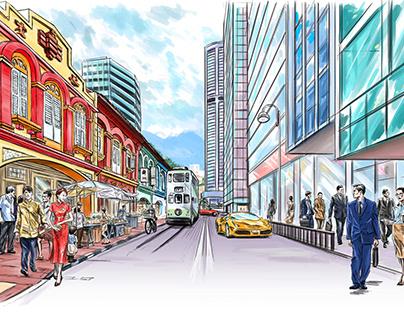 Singapore and Hong Kong, editorial illustration