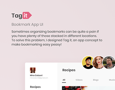 Tag it | Bookmark App UI Design