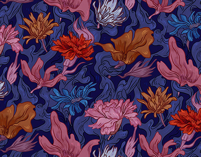 Floral and Silks repeating pattern