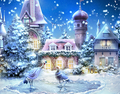 Winter town in a crystal ball
