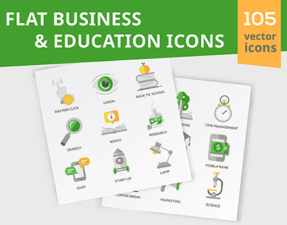 Business & Education Flat Icons