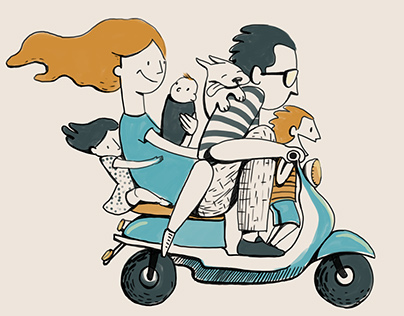 A family riding a motorcycle