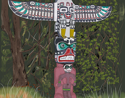 First Nation Totem Pole in Stanley Park - Vancouver