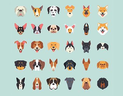 30 Dog Breeds Vector Illustration Icons