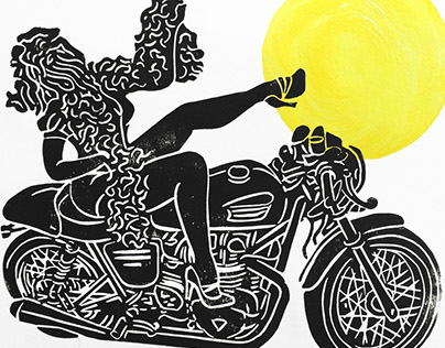 The Bearded Motorcycle Lady Linocut Print