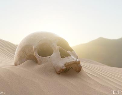 3D Skull on desert