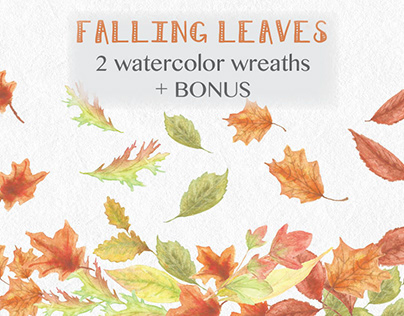 Watercolor wreaths of autumn leaves