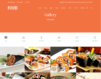 Gallery Page Full-Width - Food WordPress Theme