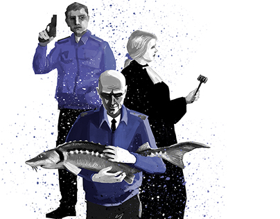 "Illustrations for ""Russian Fish"" magazine #3"