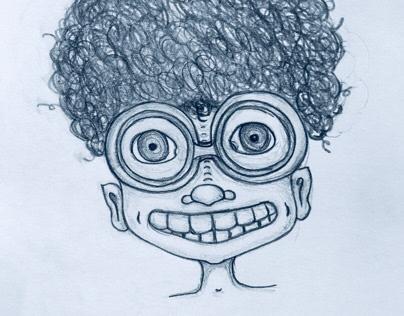 Curls and glasses - Illustration (in progress)