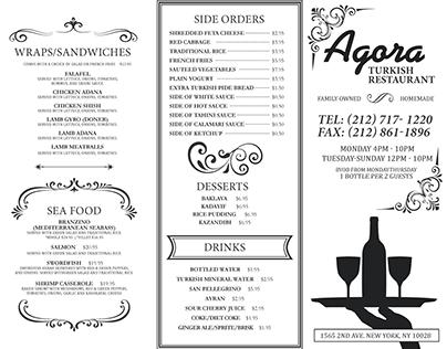 """""""Agora"""" Turkish Restaurant Take Out Menu"""