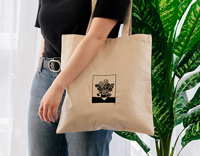 Van Gogh — sunflowers. Embroidered Tote bag