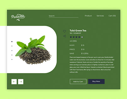 Pure Tea Add Product Screen