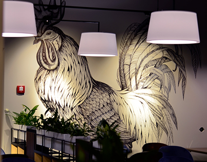 Wall drawings in Rooster Restaurant