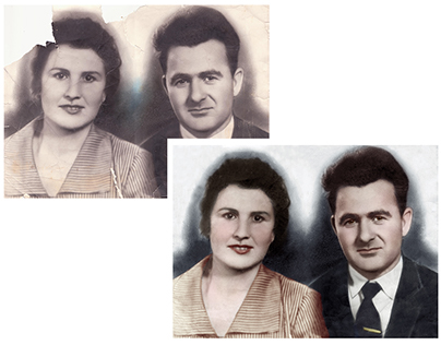 Restored and colorised photograph of a couple
