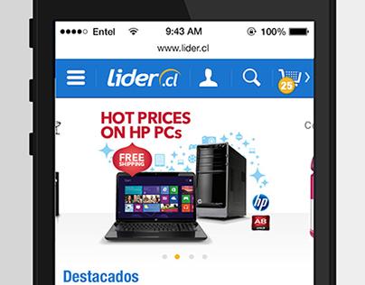 Líder.cl - Diseño de interfaz WEB MOBILE