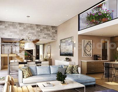Modern Residential living Area 3D Interior Modeling