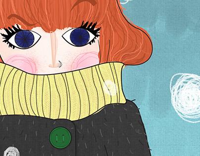 menina com frio | ilustração digital