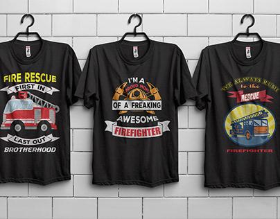Fire Fighter T-Shirt Designs Bundle