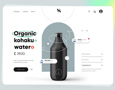 Organic water bottle product page UI