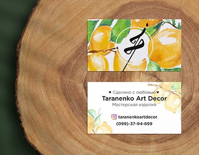 Bussines card for TaranenkoArtDecor