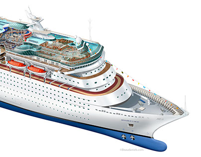 Monarch of the Seas, breakdown of the illustration.