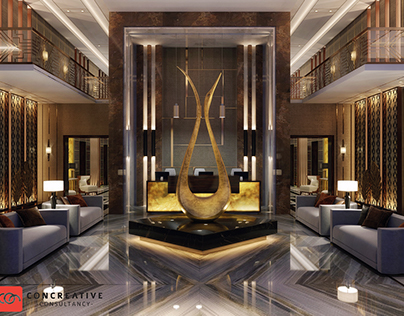 Hotel entrance interior design at ksa, @con creative