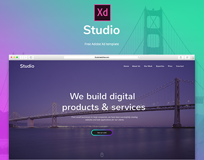 Studio - Free Adobe Xd template