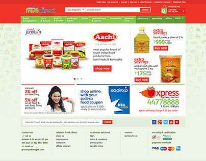 Grocery Online Shopping Web UI Concept
