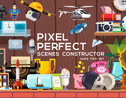 PIXEL PERFECT scene constructor - huge item set