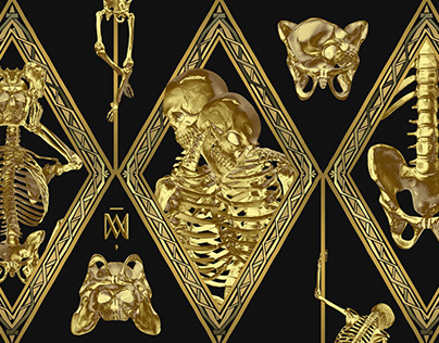 Saṃsāra LSD | 3D Gold Skeleton Designs for Apparel