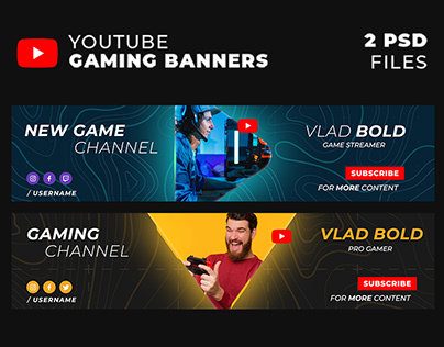 Stylish Gaming Youtube Banners / Covers